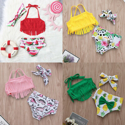 Toddler Baby Girls Cute Fruit Bikini Tassel Beach Swimsuit Bathing Swimwear Set