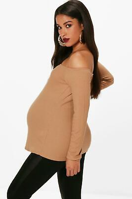 Boohoo Maternity May Off The Shoulder Ribbed Jumper Size 10 BNWT £18.99 Camel