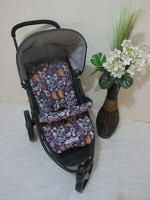 Handmade pram liner set-Purple paisley-100% cotton Funky Babyz,SALE*
