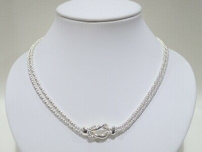"""TIFFANY & CO. sterling silver Love Knot double rope necklace 17"""""""