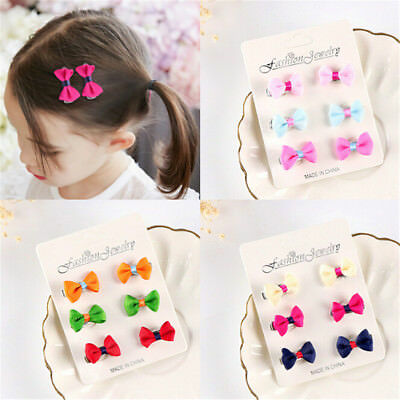6X Cute Girls Barrettes Candy Color Mini Hair Clip Bows Hairpins Accessory FO