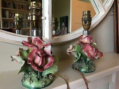Pair of antique Italian ceramic lamps - Capodimonte style - in need of re-wiring