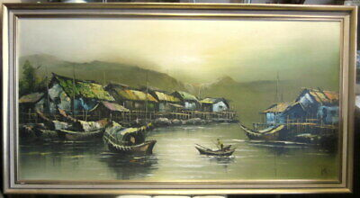 """large (51"""" x 27"""") original 1970's oil painting- """"Asian fishing village"""" - signed"""