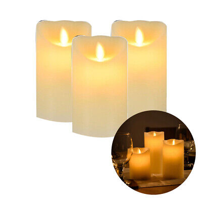 Set of 3 Flickering Led Flameless Flame Wax Mood Candles Battery Operated
