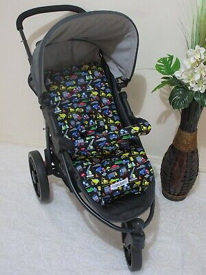 Pram liner set,universal,100% cotton fabric-Colourful cars,trucks-Funky babyz