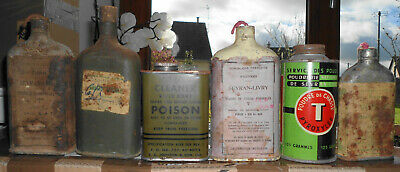 5 antique french powder boxes EMPTY + 1 bottle oil cleaner