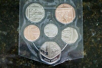 2019 Shield Definitive BU Lower Values 50p 20p 10p 5p 2p 1p - Royal Mint Pack
