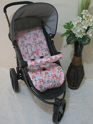 Handmade pram liner set-Elephant splash-pink-100% cotton*Funky babyz,SALE*