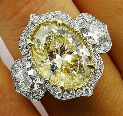 Huge 7.46ct Fancy Yellow Oval Cut Topaz 3 Stone Halo Pave Platinum Ring Jewelry