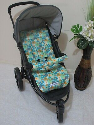 Handmade pram liner set-Elephant splash-aqua-100% cotton*Funky babyz,SALE*