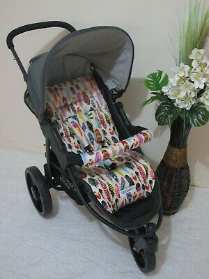 Handmade pram liner set-Coloured feathers-100% cotton*Funky babyz