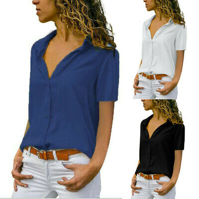 Plus Size Women Short Sleeve Button Blouse Ladies V Neck Loose Tops Office Shirt