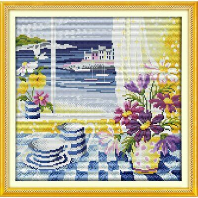 SUMMER FIELD COUNTED CROSS STITCH KIT 14 COUNT AIDA 14x17CM