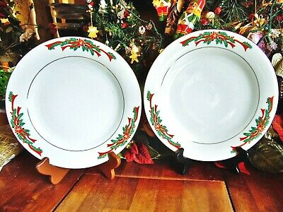 "2New Other Christmas Holiday Dinner Plates 10.5"" Poinsettia & Ribbons Dinnerware"