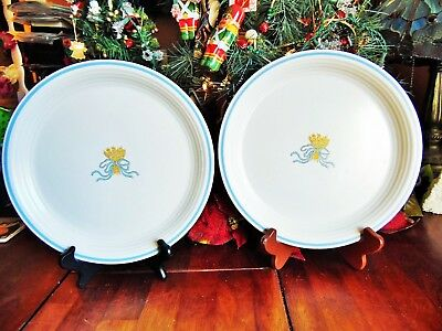 "2 NEW OTHER-old stock ANCHOR HOCKING DINNER PLATES HARVESTER BOUQUET 10.5"" JAPAN"