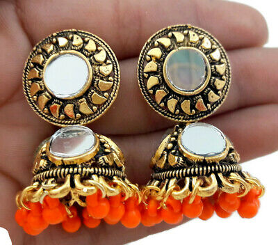 Indian Bollywood Oxidised Gold Tone Orange Mirror Jhumki Jhumka Earrings Jewelry