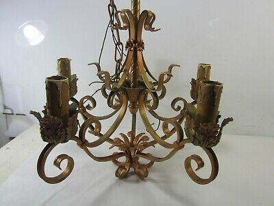 Vintage Wrought Iron 5 Arm Chandelier for Restoration or Projects