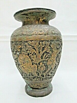 Vintage Brass Persian Middle East Vase Handmade With Floral Designs Around 1940
