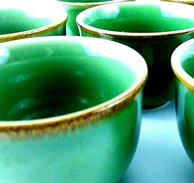 Lot of 7 Thick Ceramic Green and Brown Asian Sake Tea Cups P.B. Made In Japan