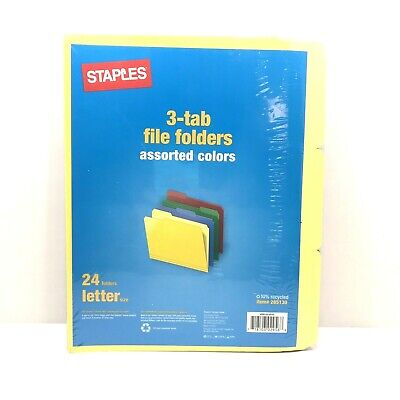 Staples® Assorted Pastel Colors 3 Tab File Folders, Letter-Size, 24/Pack