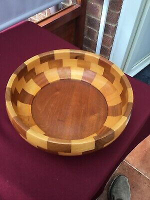 Vintage Cambridge Ware 'Cottenham' design Bowl Wood Wooden Mosaic Segments