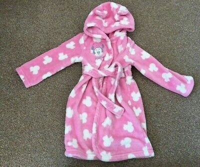 Girls Disney George Minnie Mouse Pink Fleece Soft Dressing Gown 18-24 Months B78