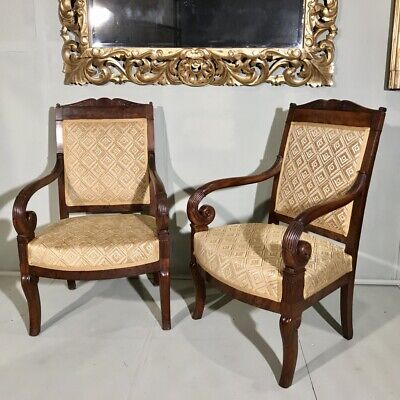 Pair of French c19th Empire armchairs reupholstered Jane Churchill Zephyr Gold