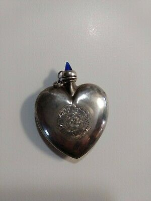 Victorian STERLING SILVER PERFUME BOTTLE BLUE SAPPHIRE TOP SIGNED CHATALAIN