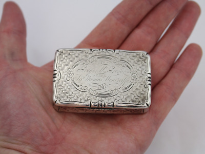 Antique Victorian Large Snuff Box Sterling Silver Nathaniel Mills 1852 66g Dh50