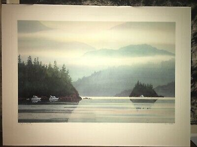 ANN RUTTER Watercolor Print Litho Title Bayliner Country Framed Signed 330/550