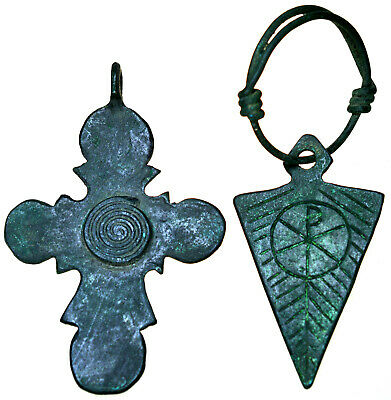 Byzantine Bronze Cross Pendant and Byzantine Bronze Icon Pendant Set