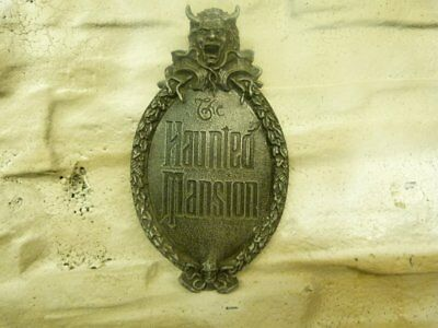 New Haunted Mansion Gate Plaque Sign Decor silver.