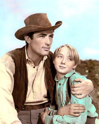 """GREGORY PECK CLAUDE JARMAN JR THE YEARLING 1946 8x10"""" HAND COLOR TINTED PHOTO"""