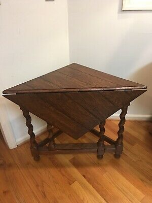 "Antique Barley Twist Drop Leaf Corner Table 24"" Sides Very Sturdy, No Wobble"