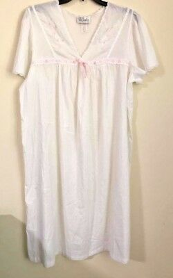 d7dfe3edb5 Character Nightgown 100% Cotton White/Pink Raised Flowers Heirloom Quality  Large