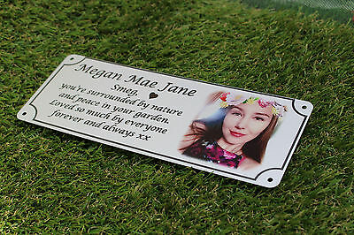 Photo memorial, bench plaque, remembrance, Mothers Day, Aluminium, Silver finish
