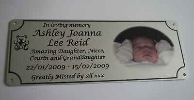 memorial bench plaque with photo, aluminium, metal, brushed silver finish,