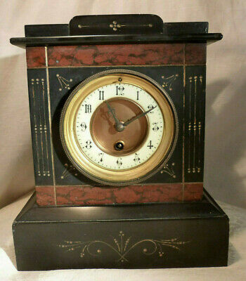 Antique Aesthetic Movement Red Marble Slate Pendulum Mantel Clock Spares/Repairs