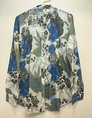f2f3710efd9d Catalog Classics Tunic Top Womens Size S Blue Brown Floral Pintuck Long  Sleeve