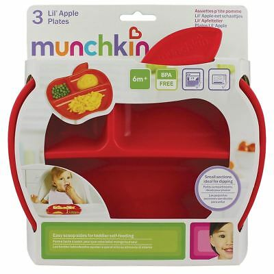 Munchkin Apple Shaped Plates with 3 divided sections - Pack of 3 NEW