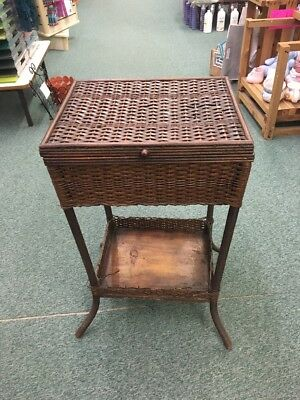 antique Heywood Wakefield Sewing Basket Stand Rattan Wicker Shelf storage Box