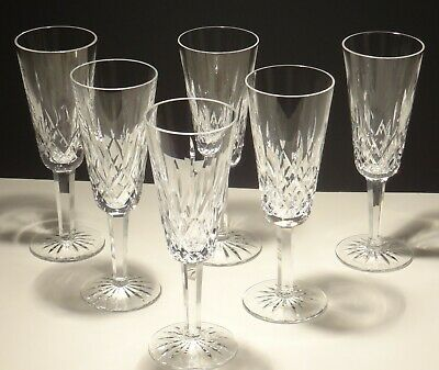 """4 Vintage Waterford Crystal Lismore Continental Champagne Flutes 7 1/4""""  Ireland"""