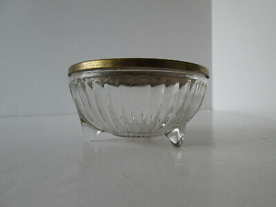 Vintage 1940s Ribbed & Footed Glass Vanity Jar Powder Box w Blue & Brass Lid 368