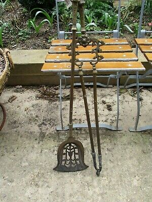 Lovely Vintage Antique Solid Heavy Brass Fireside Companion Set Shovel & Tongs