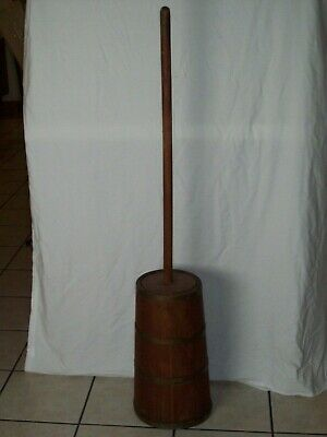 Antique Wooden Butter Churn With 4 Brass Bands ~ Great Primitive Condition !