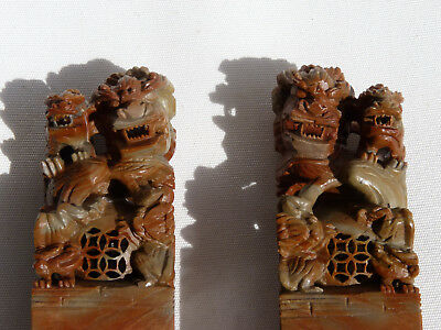 A Pair of Antique Carved Chinese Seal Blank Stamp Rare