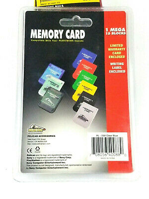 Playstation 1 Official Sony Brand memory card Island BLUE one great shape