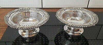 Sheffield Silver Plate Pair of Footed Nut Dishes