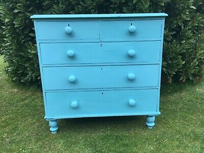 Charming Vintage Pine Chest Of Drawers Painted Blue