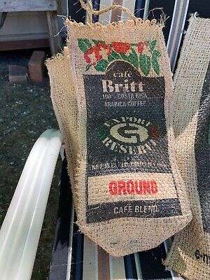 lot of (2) Burlap Coffee Bean Sack Bag Colorful Gunny Sacks costa rica brasil